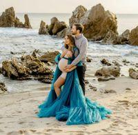 hunter Elegant Blue Maternity evening Dress for Photo Shoot Custom Made Sheer Tulle Long Robes Women Dresses floor length