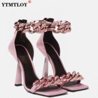 Factory_store01 jju957 черный квадратный носок сандалии женщины женщины уникальные тонкие высокие каблуки на молнии открытые пальцы металлические цепи декор взлетно-посадочной полосы сандалии большой плюс szie 43 dfg34654gd