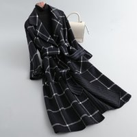 Ladies blend jacket long-sleeved plaid black and white stitching casual winter houndstooth