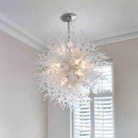 유럽 LED 천장 램프 110V-260V 핸드 블로우 유리 샹들리에 램프 거실 침실 홈 장식