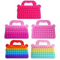 New Mini handbag Popet Push Bubble Fingertip Toys Children Anti-Stress Bag Adult Decompression fitjet Toy Poppit pencil case