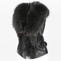 2019 Chic Dame Faux Fur de fourrure Veste Casual Gilet Hiver Automne V-Col V-Col Feuille Zipper Soft Sans Manches Woming Outwear Manteau 2019