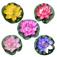 5 قطع الاصطناعي العائمة مياه الزنبق إيفا لوتس زهرة بركة ديكور 10 سنتيمتر (أحمر / أصفر / أزرق / وردي / ضوء) زخرفية الزهور