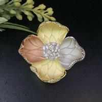 Vanifin Fashion Jewelry Beautiful Bloom Peony Brooch Pendant Dual Uso per la festa di nozze Micro Pavy Regalo popolare