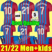 21 22 Herren + Kids Kit Barcelona Fußball Jerseys Barca FC Messi Kun Aguero 2021 2022 GRIEZMANN F.de Jong Dest Countinho Football Hemd