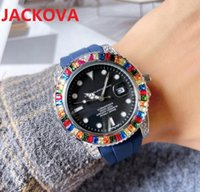 High quality fashion womens mens quartz watch 41MM Crystal Diamonds Ring bezel Sapphire Rubber Silicone Nice stopwatch gifts Hip Hop Bling Clock Hours