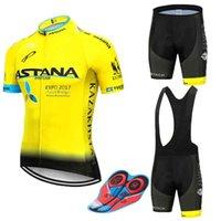 Новый 2021 Желтая Астана Велоспорт Команда The Jersey 9D Велосипед Шорты Установите быструю сухую Мужской Велосипед Одежда Команда Pro Bike Maillot Culotte X0503