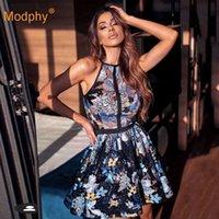 Indústria Pesada Sequina De Bordado Elegante Mulheres vestido sexy sem mangas altas cintura da noite festa de noite a linha mini vestidos feminino 210527