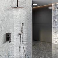 10 بوصة مجموعة نظام الاستحمام على السقف، رئيس الاستحمام المطر مربع، المحمولة والصنبور