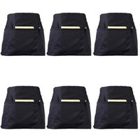 Aprons 6 Pack Black Waist With 3 Pockets - Half For Waitress Waiter 24 X 12 Inch Server Holding Book Gu