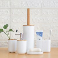 Bath Accessory Set Bamboo Six-Piece Cleaning Tool Toilet Brush Toothbrush Holder Cup Soap Lotion Dispenser Bathroom Accessories