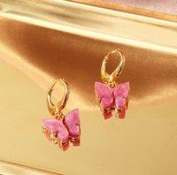 Charms Korean Fashion Earrings Acrylic Butterfly Shape Jewelry Small Fresh Sweet Drop Earing For Woman Cute Gifts ML
