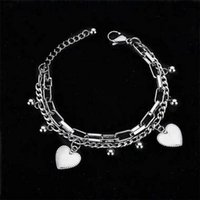 Lady's bracelet Fashion European and American Hip Hop Chain Trend Street Tail Accessories Cool Love Double Link Women jewelry gf gift silver color