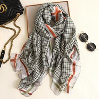 Bufandas de seda bufanda estilo impresión a cuadros chal cabeza damas suave larga pashmina tul de alta calidad en la cabeza de alta calidad180 * 90