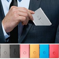 Sacs de rangement Porte-cartes de visite Puissance Push Case Banque Banque Métal Ultra mince emballage Box Organisateur