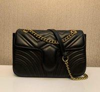 Luxus Designer Neue Stil Marmont Umhängetaschen Frauen Gold Kette Kreuz Körpertasche PU Leder Handtaschen Geldbörse Weibliche