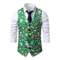 Мужские жилеты Parklees Green Рождественский жилет Мужчины 3D Xmas Распечатать Мужской Жилет, Повседневная вечеринка Праздник Cosplay Tuxedo Gilet Homme Chaleco Hombre
