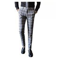 Men Dress Pant Business Slim Fit England Classic Suit Trousers Wedding Male Korean version Plaid casual trousers