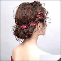 Bijoux bijoux bijoux Barrettes Femmes épingles cheveux ornements classiques vintage rouge tissu fleur coiffure à la main élégante mariée mariée mariée