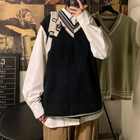 Men's Sweaters Sweater Vest Fashion Retro Casual V-neck Men Streetwear Korean Loose Pullover Mens Clothes M-2XL