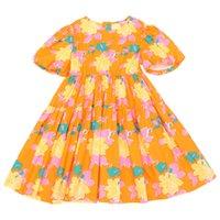 Vestido floral de la niña de manga corta impresa para niños grandes 3T-12T verano niños vestidos de moda linda vestidos impresos