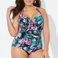 Green Plus Size Print Push Up One Piece Swimwear Swimsuit Female Jumpsuit Swimsuits Monokini Bathing Suit Cross Strap Bikinis CD Women's
