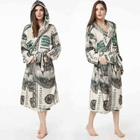 Womens Fleece Flannel Plush Bathrobe US Green Dollar Money Print Shawl Collar Ladies Long Robes Gown Hooded Spa Bath Sleep Robe Autumn Winter Warm G726HOU