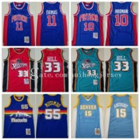 Top Calidad Mitchell y Ness Baloncesto Isiah Thomas Jersey 11 Dennis Rodman 33 Dikembe Mutombo 10 Grant Hill 55 Carmelo Anthony 15 VintageBasketball Jerseys