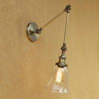 벽 램프 빈티지 로프트 LED 산업 분명 유리 전등 갓 무료 조정 긴 스윙 암 침실 레스토랑 바에 대 한 e27 220v