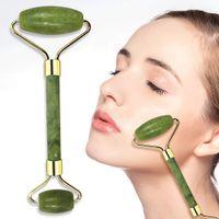 Rolos de rolo de jade, ferramentas de cuidados com a pele de rolos de beleza facial, massageador de quartzo rosa para rosto, olhos, pescoço, músculo corpo relaxante e aliviar linha fina