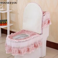 3PCS Set European Lace Toilet Seat Cushion Tank Cover U-shaped Winter Overcoat Case Pads Mat Bathroom Accessories Home Decors Covers