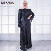 Siskakia Black Abaya женская мода блестки лоскутное дизайн Муслимах кафтанс Джуба Осень 2018 Cardigan Ramadan Женские платья G82S #