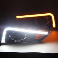 2 шт. Для Honda City 2014 Светодиодный свет DRL противотуманные лампы, крышка дневного ходового светильника Дневной свет с поворотным сигналом желтый