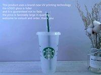 DHL Free Starbucks 24oz / 710 мл пластиковый тумблер многоразовый чистый питьевой плоский нижний стакан колонна формы крышки соломенной кружки Бардианская УФ-машина не исчезает