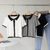 Vintage Farbe Kontrast Kurzarm Kinting T-Shirt Frauen Koreanische Art Pullover Button Chic Weibliche Tops Frauen T-Shirt