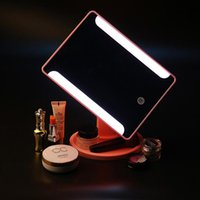 Compact Mirrors CASHOU14 Degrees Rotation Makeup Mirror LED Adjustable Touch Screen Cosmetic Beauty Desktop Vanity Table Stand Light