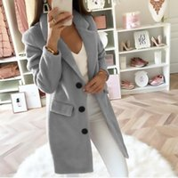Women's Wool & Blends Plus Size 5XL 2021 Autumn And Winter Fashion Coats For Women Long Double-breasted Woolen Coat With Solid Color Suit Co