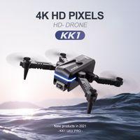 KK1 Global Drohne 4k Double HD Camera Mini Fahrzeug Wifi FPV Faltbare Professionelle Hubschrauber Selfie Drohnen Spielzeug für Kind mit Batterie