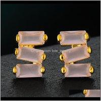 Jewelrygodki 18Mm Luxury Geometry Stack Stud For Women Wedding Cubic Zircon Dubai Trendy Earrings Boucle Doreille Femme Drop Delivery 2021 Jj