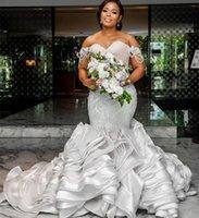 2021 Plus Size Arabic Aso Ebi Lace Mermaid Sexy Wedding Gowns Sweetheart Beaded Tiers Satin Vintage Bridal Dresses ZJ121