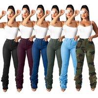 2021 المرأة الجديدة الجينز عارضة الدنيم مكدسة السراويل الخريف سليم الأزياء مكدسة يغطي الرجل الجينز مع سستة عالية الشارع النساء السراويل