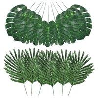 Dekoratif Çiçekler Çelenkler 48 adet 4 çeşit Yapay Palmiye Yaprakları Monstera Yaprakları, Faux Kaynaklanıyor, DIY Ev Düğün Masa Süslemeleri
