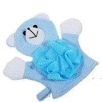 Baby Bathroom Towel Baby Bath Gloves with Flowers Cartoon Bath Double-sided Gloves Kids Shower Brush Flower EWE7419