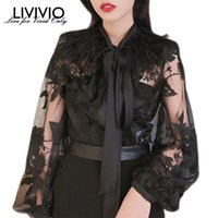 Women's Blouses & Shirts [LIVIVIO] Floral Embroidery Sheer Shirt 2021 Summer Clothes Women Feather Tops Long Lantern Sleeve Vintage Ladies B