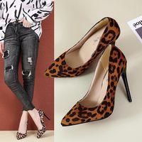 대외 무역 샌들 크기 35-44 큰 신발 한국어 스타일 표범 인쇄 하이힐 여자 얕은 입 뾰족한 발가락을 고급 스틸 스틸 SMA