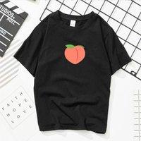 Neploe japonês harajuku mulheres t-shirt do pêssego t-shirt preto t-shirt de manga curta Top Top Verão T-shirt