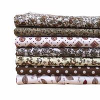 NUOVO 7 pz Brown Plain Weave Ploth Cotone Tessuto Tessuto Tessuto Bundle Trapuntatura Secuzione Patchwork Handmade FAI DA TE COTONE 25CMX25CM