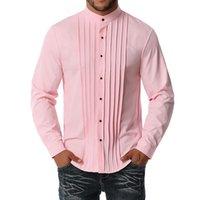 """S-XXL Große und große Größe Männer Banded Kragen 1/2 """"Falten Smoking Hemd Einfacher Farbe Langarm Streetwear Mann Kleidung Kleid Hemden"""