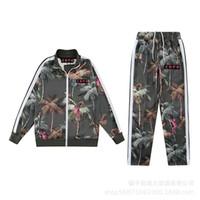 21 Yeni Zonglu Melek Yeşil Manyin Palmiye Ağacı Maymun Baskı Spor Pantolon Ceket Rahat Suit F0N7