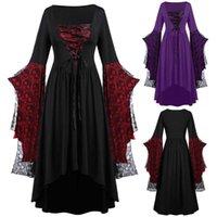 Moda Cadı Cosplay Kostüm Cadılar Bayramı Artı Boyutu Kafatası Elbise Dantel Yarasa Kol Kostümleri